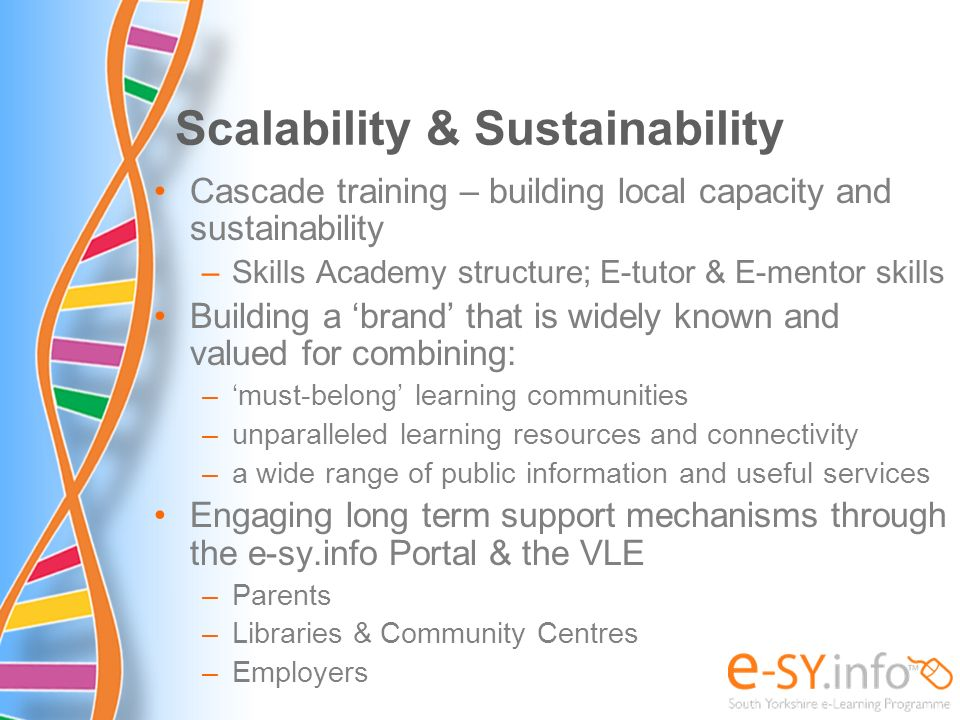 Scalability & Sustainability Cascade training – building local capacity and sustainability –Skills Academy structure; E-tutor & E-mentor skills Buildi
