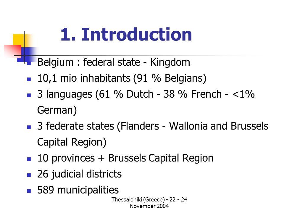 Thessaloniki (Greece) - 22 - 24 November 2004 1. Introduction Belgium : federal state - Kingdom 10,1 mio inhabitants (91 % Belgians) 3 languages (61 %