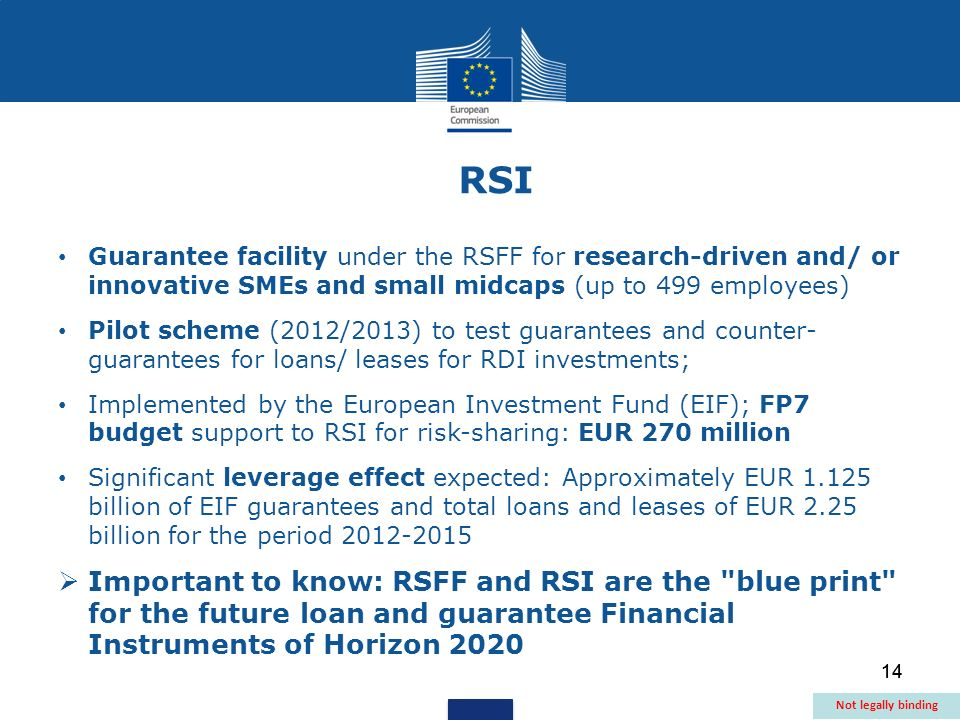 14 Guarantee facility under the RSFF for research-driven and/ or innovative SMEs and small midcaps (up to 499 employees) Pilot scheme (2012/2013) to test guarantees and counter- guarantees for loans/ leases for RDI investments; Implemented by the European Investment Fund (EIF); FP7 budget support to RSI for risk-sharing: EUR 270 million Significant leverage effect expected: Approximately EUR 1.125 billion of EIF guarantees and total loans and leases of EUR 2.25 billion for the period 2012-2015 Important to know: RSFF and RSI are the blue print for the future loan and guarantee Financial Instruments of Horizon 2020 RSI Not legally binding 14