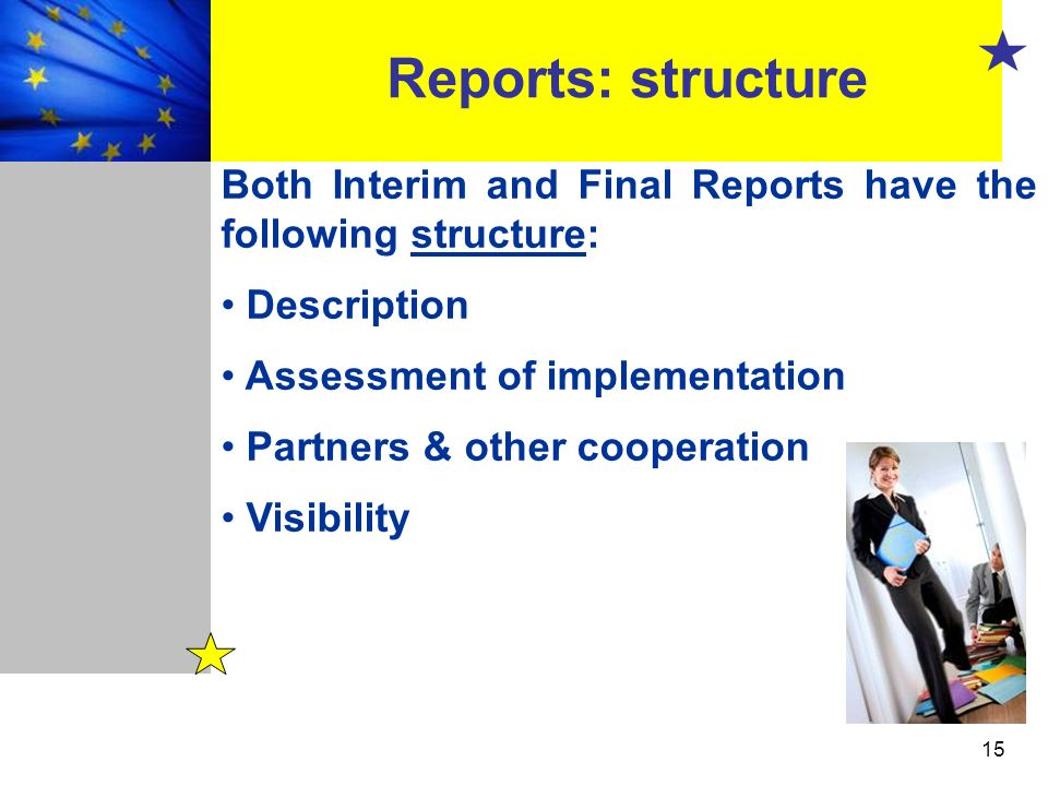 15 Reports: structure Both Interim and Final Reports have the following structure: Description Assessment of implementation Partners & other cooperati
