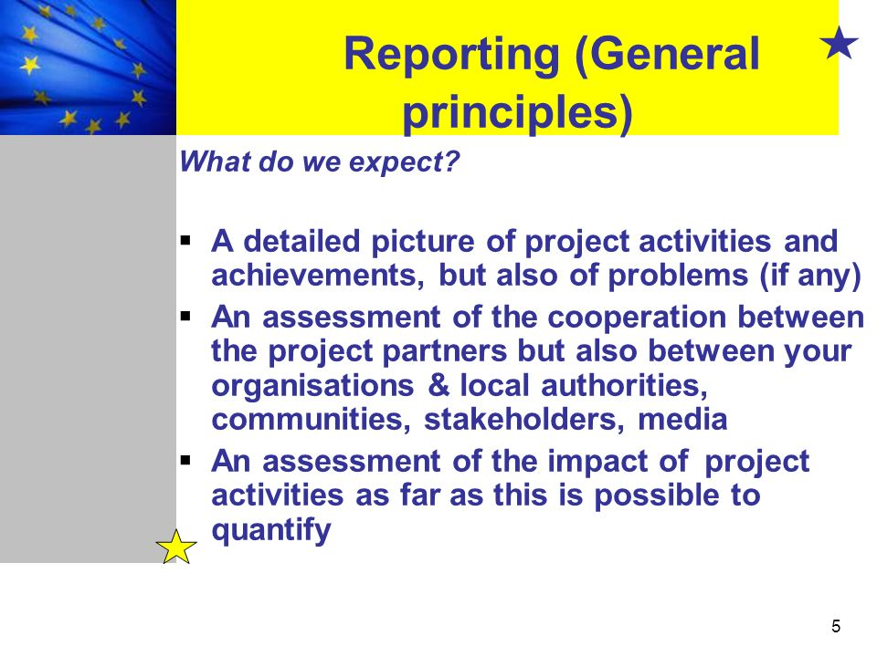 5 Reporting (General principles) What do we expect? A detailed picture of project activities and achievements, but also of problems (if any) An assess