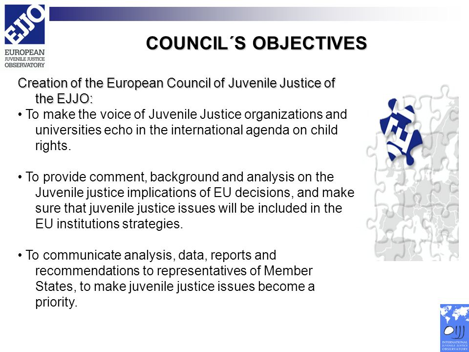 COUNCIL´S OBJECTIVES Creation of the European Council of Juvenile Justice of the EJJO: To make the voice of Juvenile Justice organizations and univers