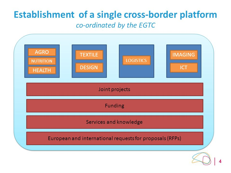4 Establishment of a single cross-border platform co-ordinated by the EGTC Joint projects Funding Services and knowledge European and international requests for proposals (RFPs) HEALTH DESIGN TEXTILE LOGISTICS ICT IMAGING NUTRITION AGRO