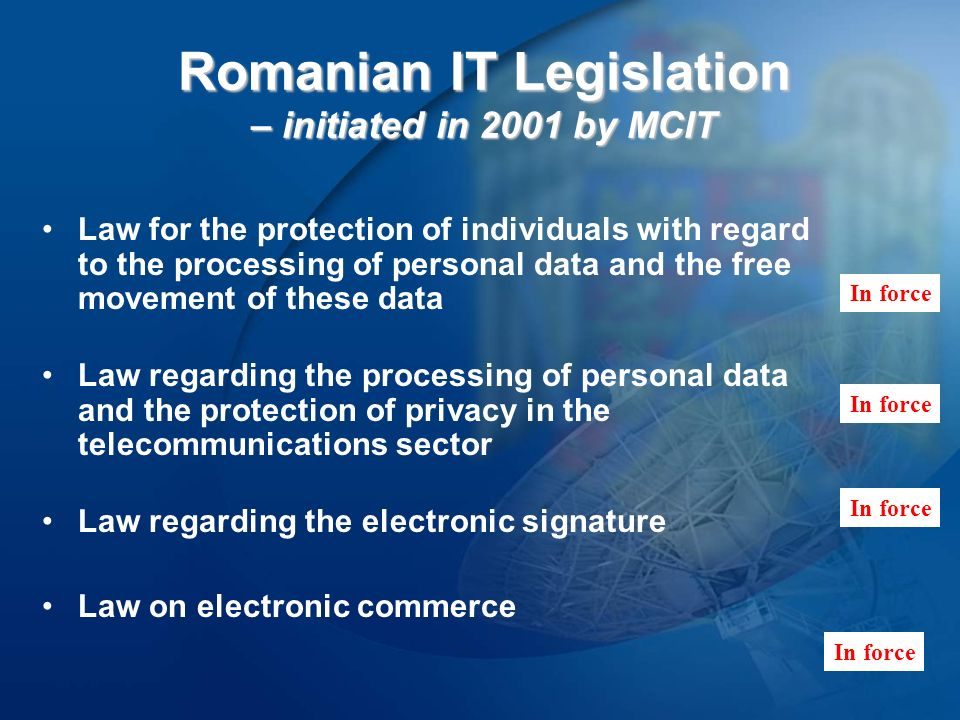 e-Government MoU (Bucharest, the 13 th of December 2001) E-Governance Project included : 1.