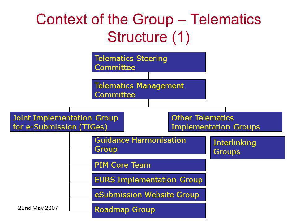 22nd May 2007 Context of the Group – Telematics Structure (1) Telematics Steering Committee Telematics Management Committee Joint Implementation Group for e-Submission (TIGes) Other Telematics Implementation Groups PIM Core Team EURS Implementation Group Interlinking Groups Guidance Harmonisation Group Roadmap Group eSubmission Website Group