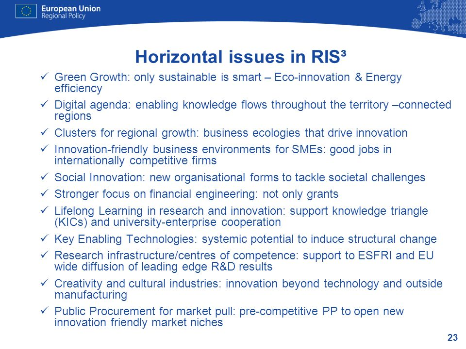 23 Horizontal issues in RIS³ Green Growth: only sustainable is smart – Eco-innovation & Energy efficiency Digital agenda: enabling knowledge flows thr