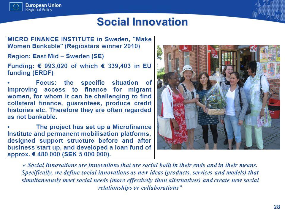 28 Social Innovation MICRO FINANCE INSTITUTE in Sweden,