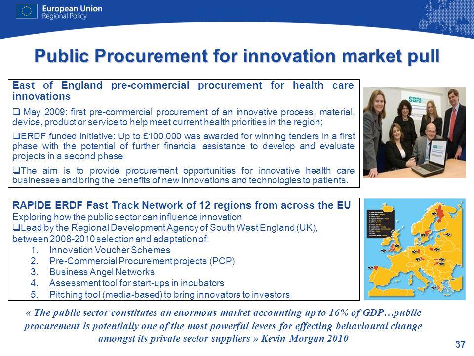 37 Public Procurement for innovation market pull East of England pre-commercial procurement for health care innovations May 2009: first pre-commercial