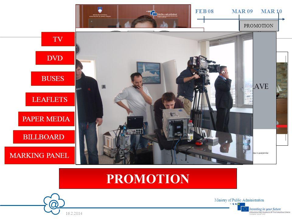 12 Ministry of Public Administration 16.2.2014 FEB 08 MAR 09 MAR 10 PROMOTION DVD PROMOTION MARKING PANEL BILLBOARD PAPER MEDIA LEAFLETS BUSES TV