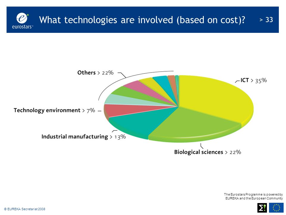 The Eurostars Programme is powered by EUREKA and the European Community > 33 © EUREKA Secretariat 2008 What technologies are involved (based on cost)?