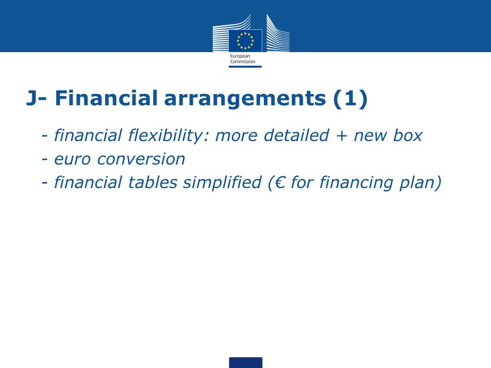 J- Financial arrangements (1) - financial flexibility: more detailed + new box - euro conversion - financial tables simplified ( for financing plan)