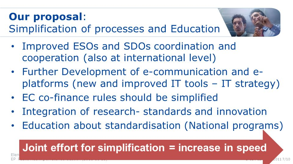 © CEN-CENELEC 2011 7/10 Our proposal: Simplification of processes and Education Improved ESOs and SDOs coordination and cooperation (also at internati