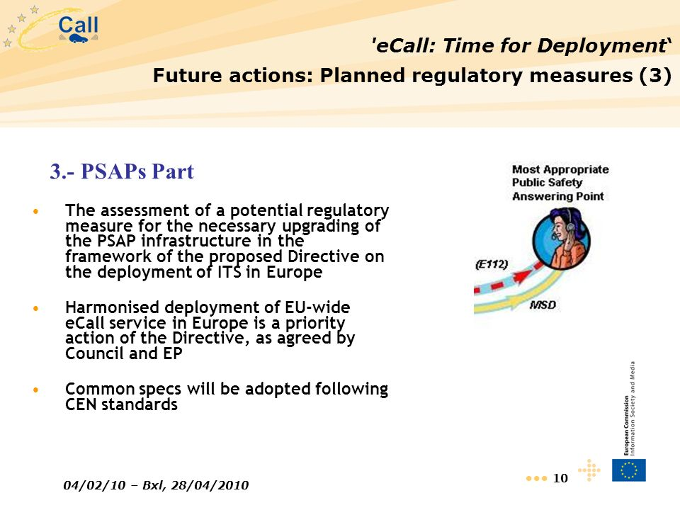 04/02/10 – Bxl, 28/04/2010 10 'eCall: Time for Deployment Future actions: Planned regulatory measures (3) The assessment of a potential regulatory mea