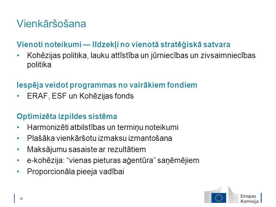 18 Vienkāršošana Vienoti noteikumi līdzekļi no vienotā stratēģiskā satvara Kohēzijas politika, lauku attīstība un jūrniecības un zivsaimniecības politika Iespēja veidot programmas no vairākiem fondiem ERAF, ESF un Kohēzijas fonds Optimizēta izpildes sistēma Harmonizēti atbilstības un termiņu noteikumi Plašāka vienkāršotu izmaksu izmantošana Maksājumu sasaiste ar rezultātiem e-kohēzija: vienas pieturas aģentūra saņēmējiem Proporcionāla pieeja vadībai