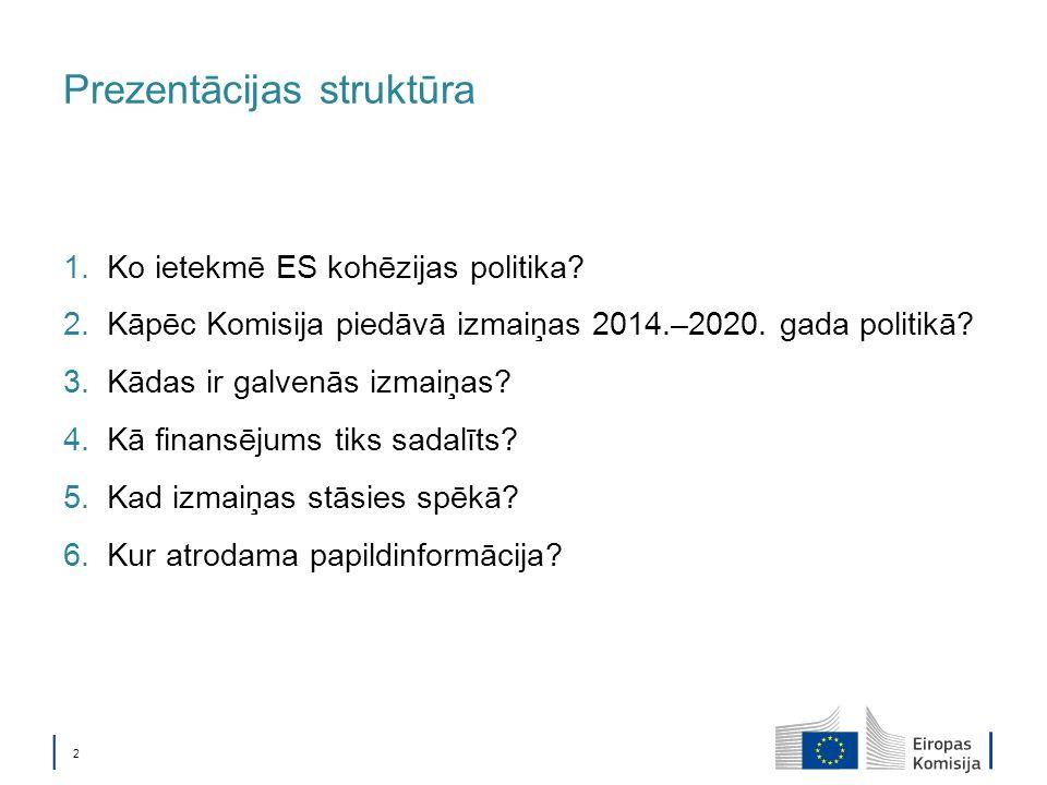 2 Prezentācijas struktūra 1.Ko ietekmē ES kohēzijas politika.