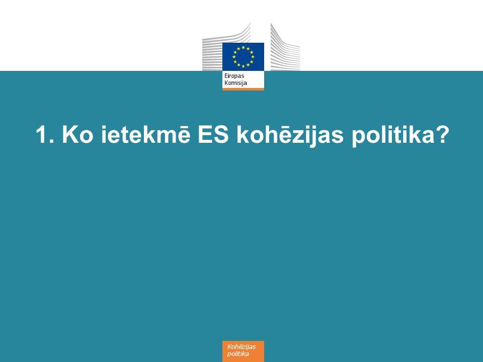 Kohēzijas politika 1. Ko ietekmē ES kohēzijas politika