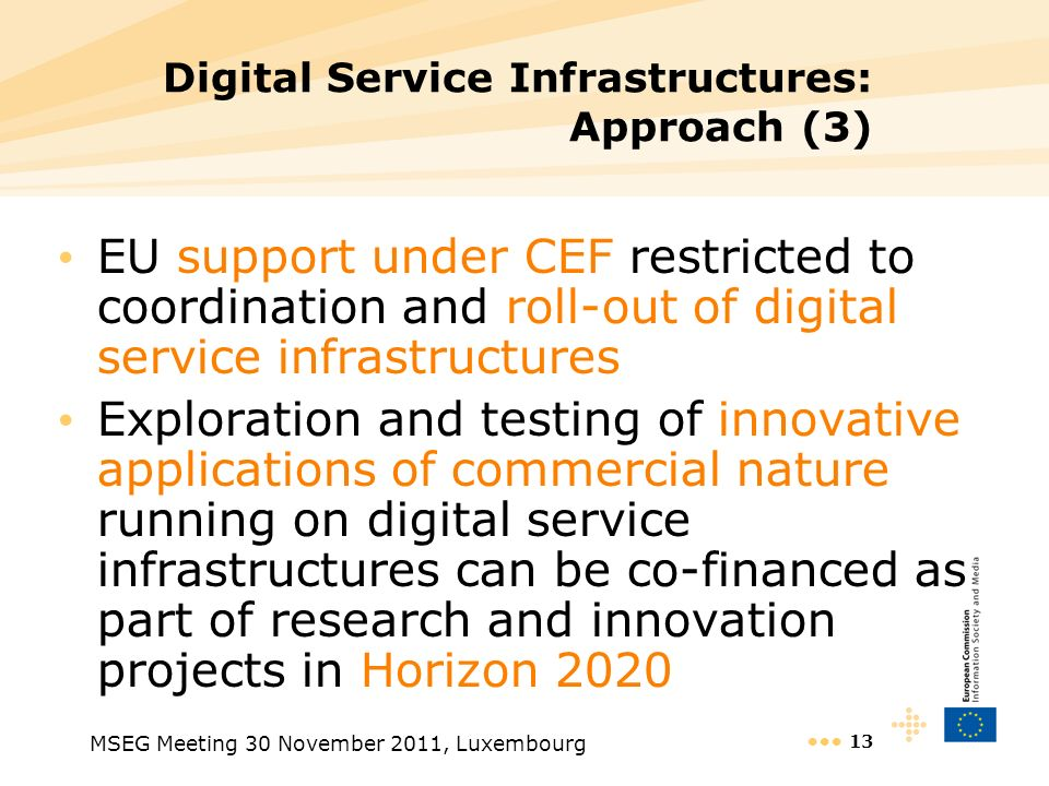 MSEG Meeting 30 November 2011, Luxembourg 13 Digital Service Infrastructures: Approach (3) EU support under CEF restricted to coordination and roll-ou