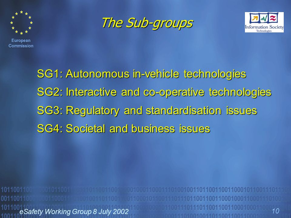 eSafety Working Group 8 July 2002 10 The Sub-groups SG1: Autonomous in-vehicle technologies SG2: Interactive and co-operative technologies SG3: Regulatory and standardisation issues SG4: Societal and business issues