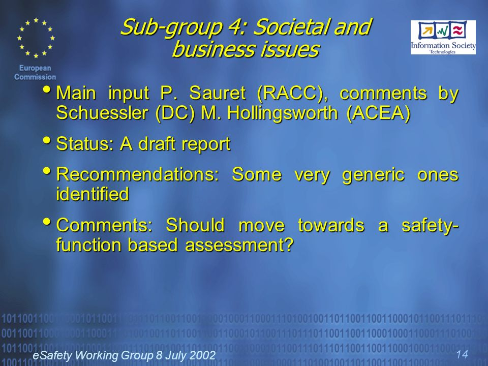 eSafety Working Group 8 July 2002 14 Sub-group 4: Societal and business issues Main input P.