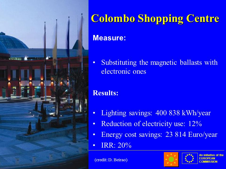 An initiative of the EUROPEAN COMMISSION Colombo Shopping Centre Measure: Substituting the magnetic ballasts with electronic ones Results: Lighting savings: 400 838 kWh/year Reduction of electricity use: 12% Energy cost savings: 23 814 Euro/year IRR: 20% (credit: D.