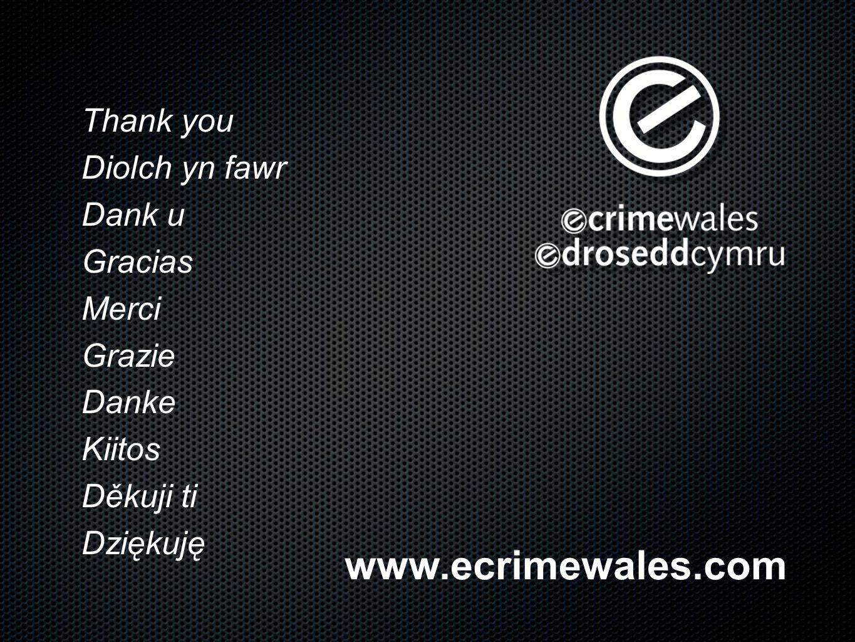 www.ecrimewales.com Thank you Diolch yn fawr Dank u Gracias Merci Grazie Danke Kiitos Děkuji ti Dziękuję