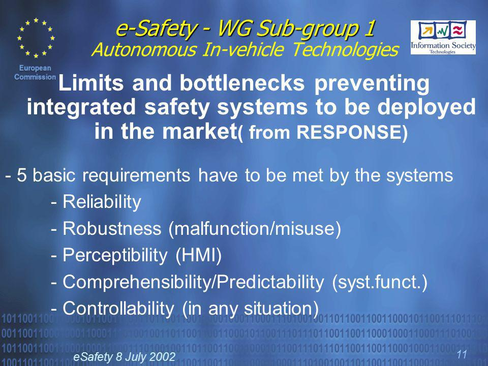eSafety 8 July 2002 11 e-Safety - WG Sub-group 1 e-Safety - WG Sub-group 1 Autonomous In-vehicle Technologies Limits and bottlenecks preventing integr