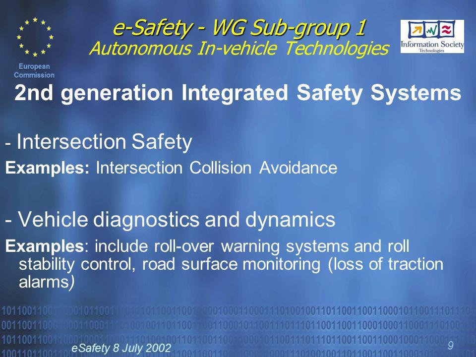 eSafety 8 July 2002 9 e-Safety - WG Sub-group 1 e-Safety - WG Sub-group 1 Autonomous In-vehicle Technologies 2nd generation Integrated Safety Systems