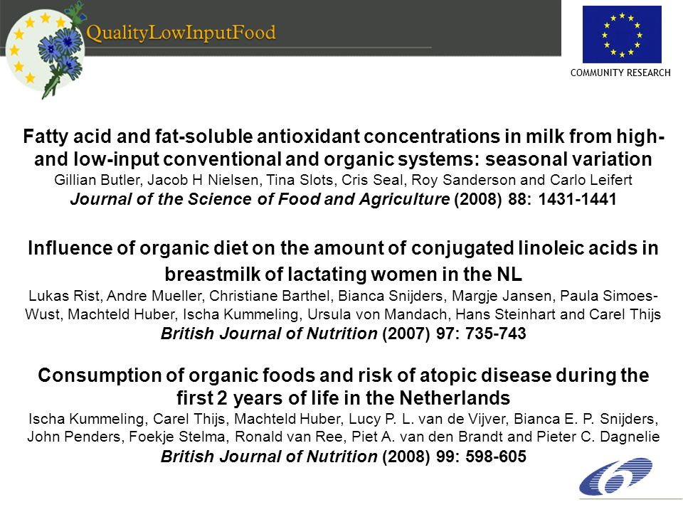COMMUNITY RESEARCH Fatty acid and fat-soluble antioxidant concentrations in milk from high- and low-input conventional and organic systems: seasonal v