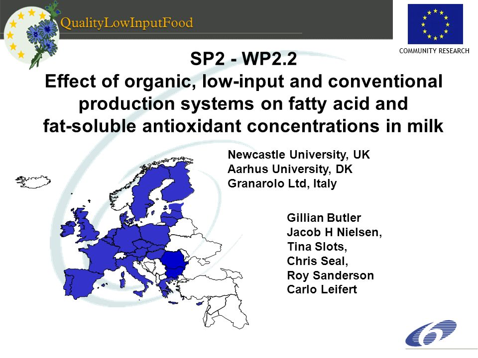 COMMUNITY RESEARCH SP2 - WP2.2 Effect of organic, low-input and conventional production systems on fatty acid and fat-soluble antioxidant concentratio
