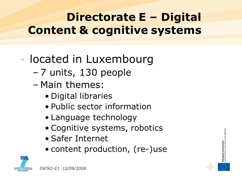 INFSO-E1 12/09/2008 Directorate E – Digital Content & cognitive systems located in Luxembourg –7 units, 130 people –Main themes: Digital libraries Public sector information Language technology Cognitive systems, robotics Safer Internet content production, (re-)use