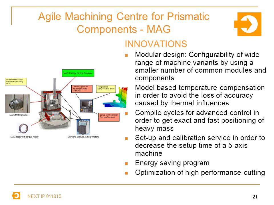 NEXT IP Agile Machining Centre for Prismatic Components - MAG INNOVATIONS Modular design: Configurability of wide range of machine variants by using a smaller number of common modules and components Model based temperature compensation in order to avoid the loss of accuracy caused by thermal influences Compile cycles for advanced control in order to get exact and fast positioning of heavy mass Set-up and calibration service in order to decrease the setup time of a 5 axis machine Energy saving program Optimization of high performance cutting