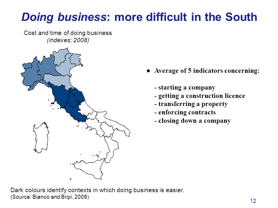 12 Doing business: more difficult in the South Average of 5 indicators concerning: - starting a company - getting a construction licence - transferring a property - enforcing contracts - closing down a company Dark colours identify contexts in which doing business is easier.