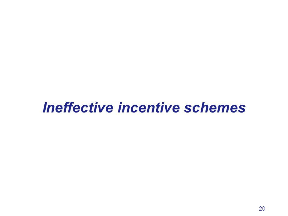 20 Ineffective incentive schemes