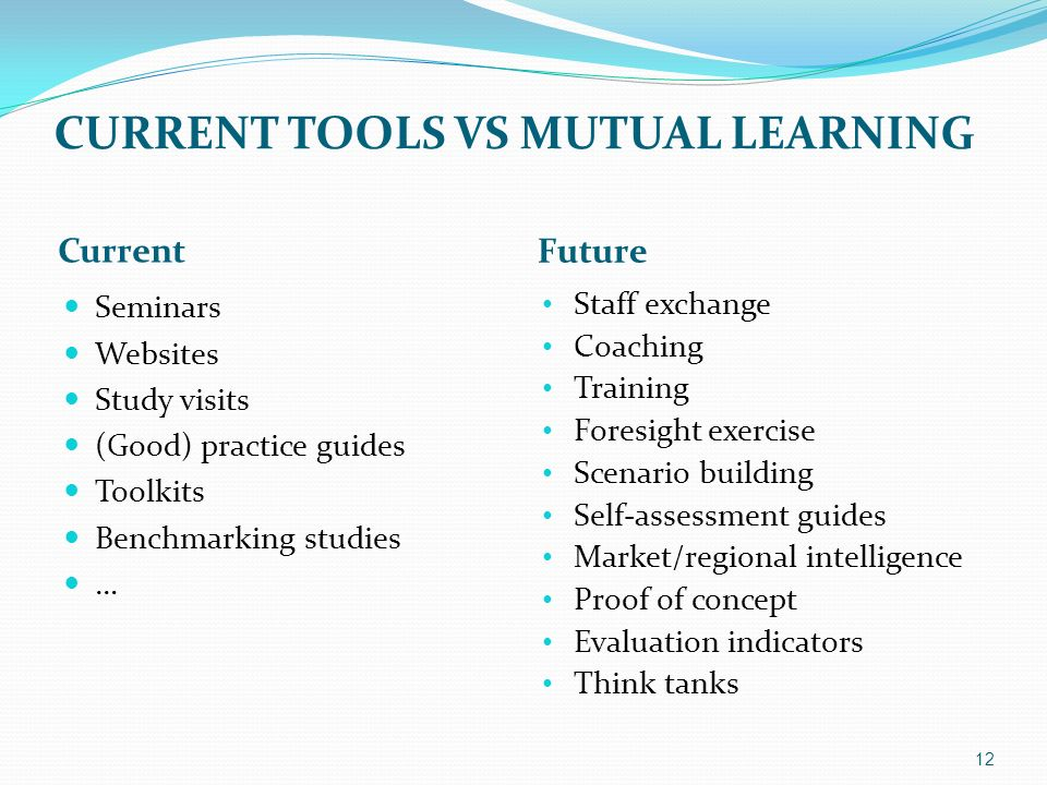 CURRENT TOOLS VS MUTUAL LEARNING Current Future Seminars Websites Study visits (Good) practice guides Toolkits Benchmarking studies … Staff exchange Coaching Training Foresight exercise Scenario building Self-assessment guides Market/regional intelligence Proof of concept Evaluation indicators Think tanks 12