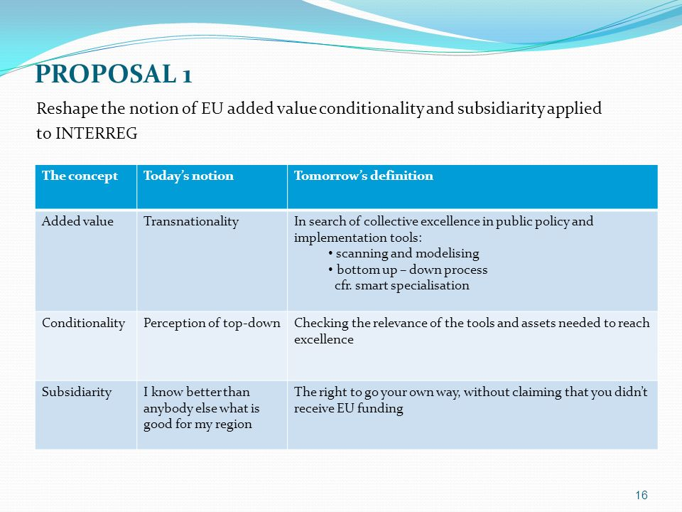 PROPOSAL 1 The conceptTodays notionTomorrows definition Added valueTransnationalityIn search of collective excellence in public policy and implementation tools: scanning and modelising bottom up – down process cfr.