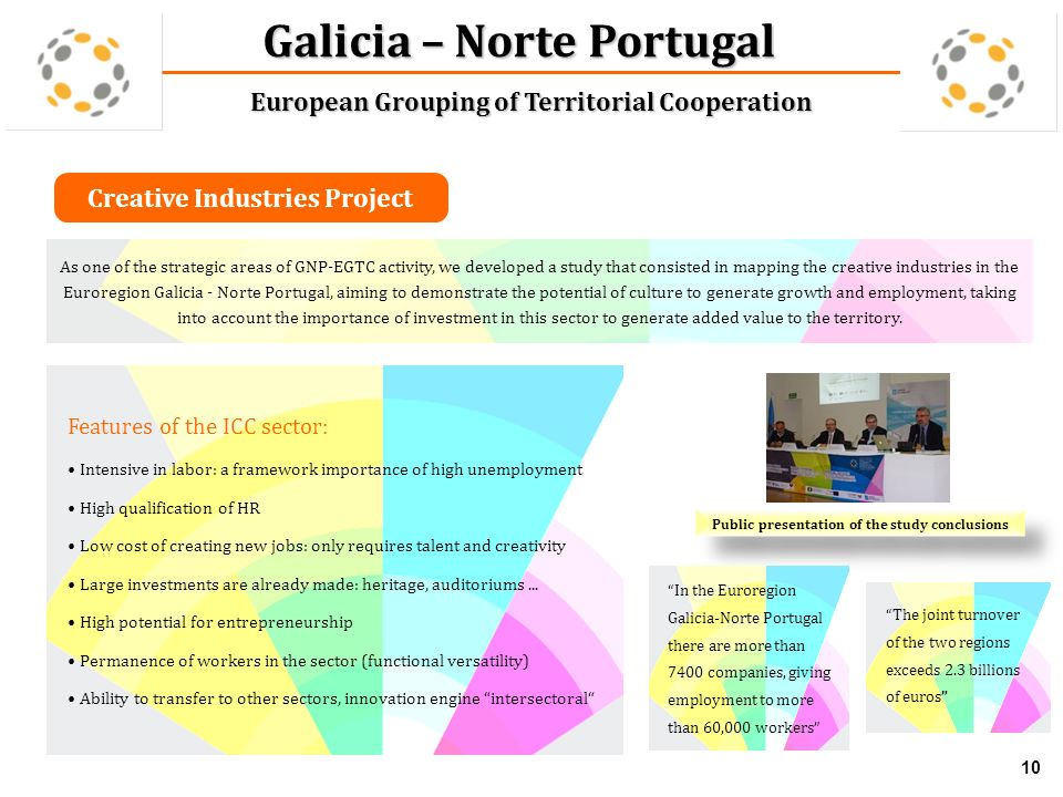 Creative Industries Project 10 Galicia – Norte Portugal European Grouping of Territorial Cooperation Features of the ICC sector: Intensive in labor: a framework importance of high unemployment High qualification of HR Low cost of creating new jobs: only requires talent and creativity Large investments are already made: heritage, auditoriums...