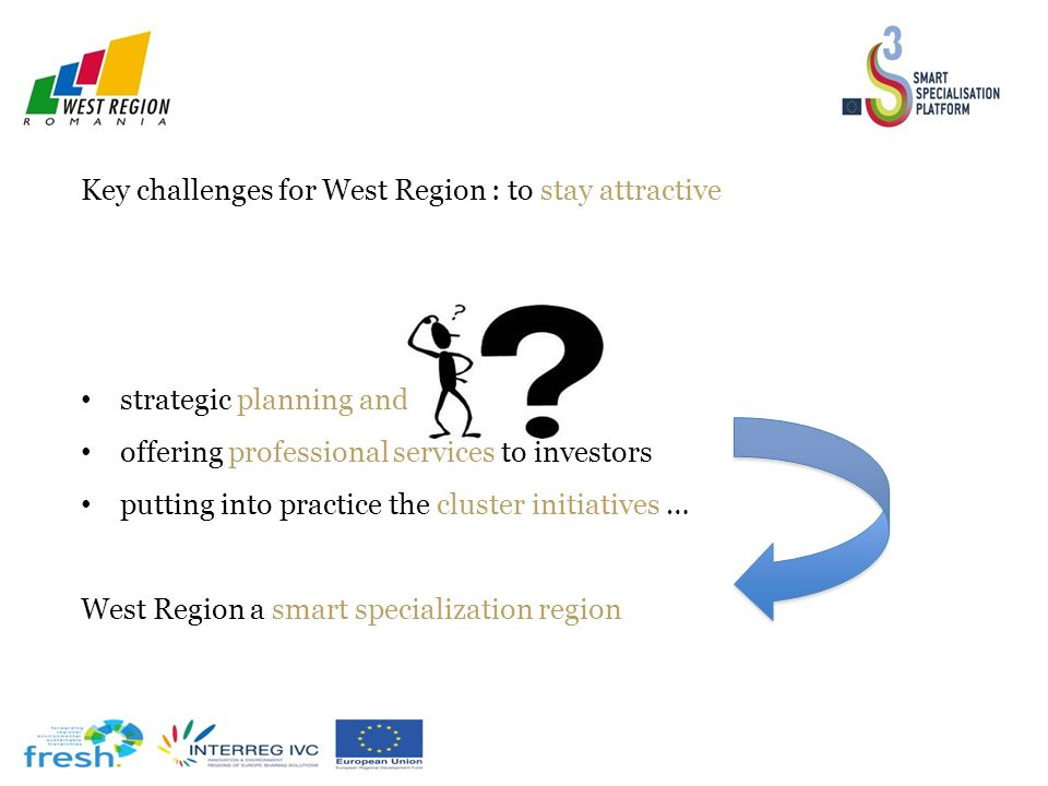 Key challenges for West Region : to stay attractive strategic planning and programming offering professional services to investors putting into practice the cluster initiatives … West Region a smart specialization region