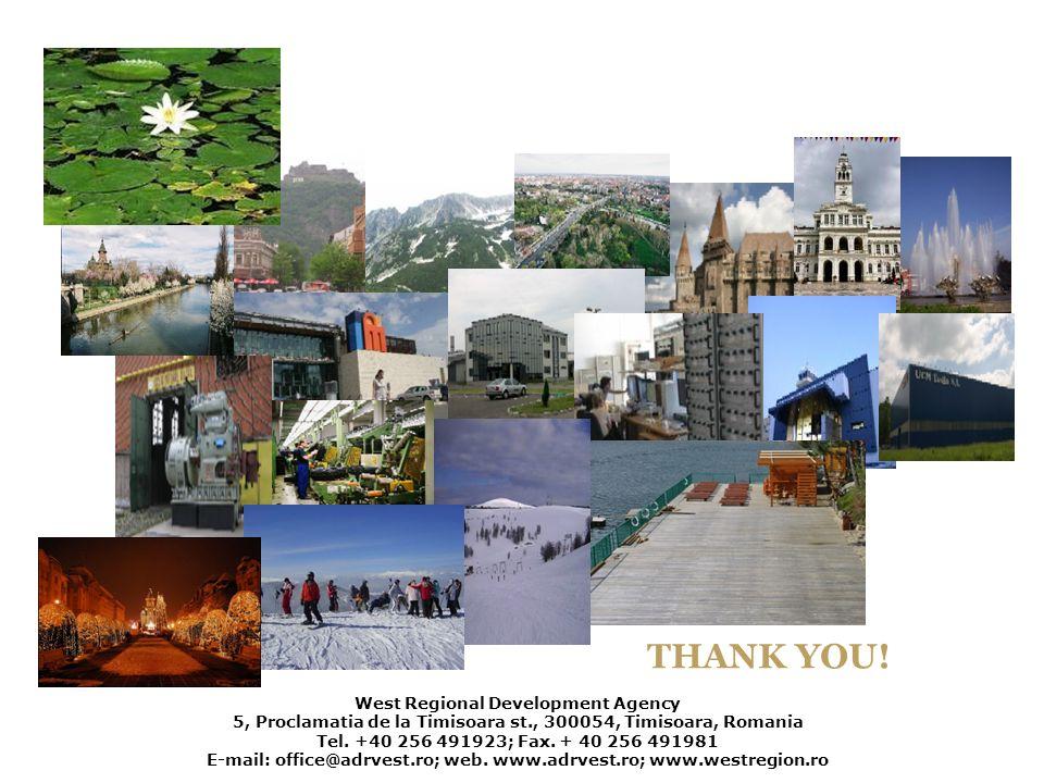 West Regional Development Agency 5, Proclamatia de la Timisoara st., 300054, Timisoara, Romania Tel. +40 256 491923; Fax. + 40 256 491981 E-mail: offi