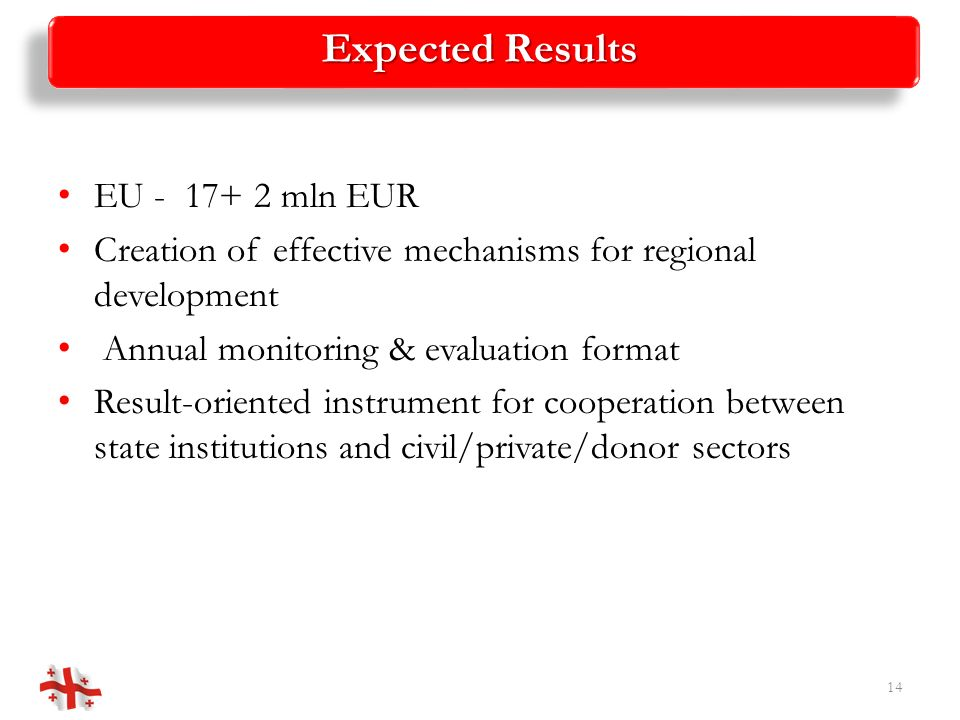 Expected Results EU - 17+ 2 mln EUR Creation of effective mechanisms for regional development Annual monitoring & evaluation format Result-oriented in