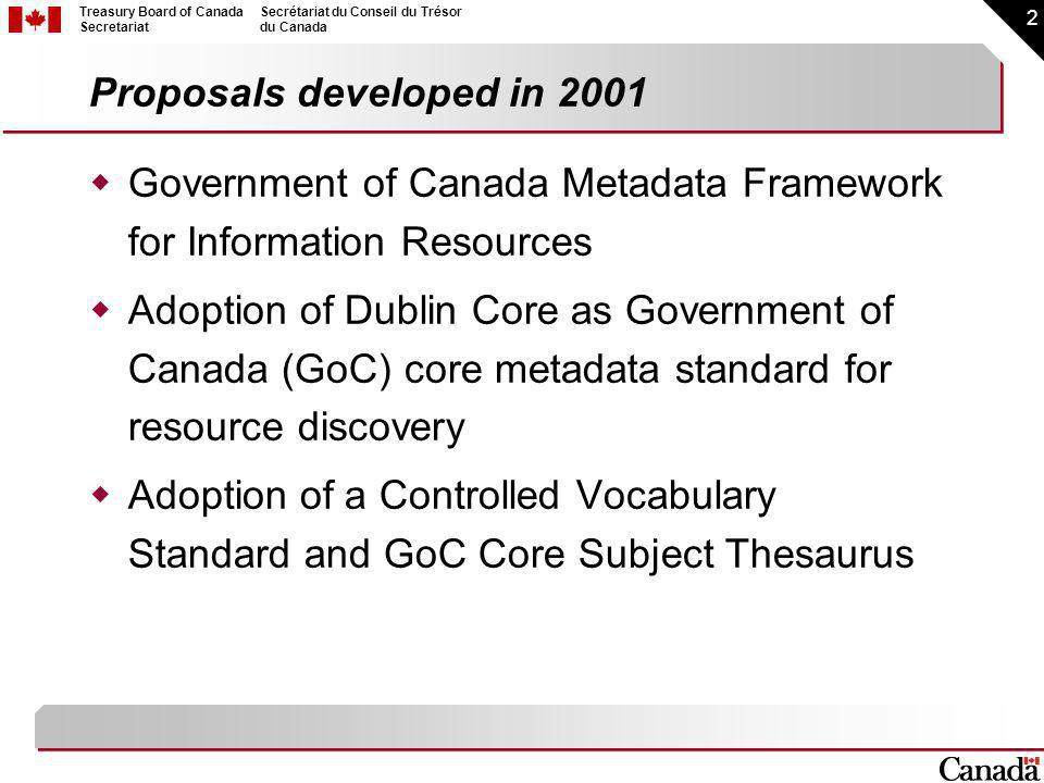 2 Treasury Board of Canada Secretariat Secrétariat du Conseil du Trésor du Canada Proposals developed in 2001 Government of Canada Metadata Framework for Information Resources Adoption of Dublin Core as Government of Canada (GoC) core metadata standard for resource discovery Adoption of a Controlled Vocabulary Standard and GoC Core Subject Thesaurus