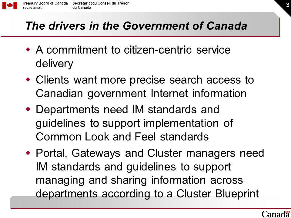 3 Treasury Board of Canada Secretariat Secrétariat du Conseil du Trésor du Canada The drivers in the Government of Canada A commitment to citizen-centric service delivery Clients want more precise search access to Canadian government Internet information Departments need IM standards and guidelines to support implementation of Common Look and Feel standards Portal, Gateways and Cluster managers need IM standards and guidelines to support managing and sharing information across departments according to a Cluster Blueprint