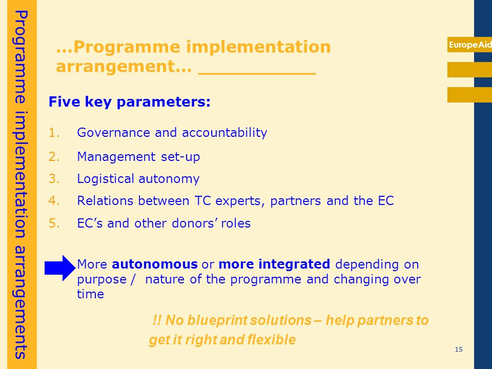 EuropeAid …Programme implementation arrangement… __________ Five key parameters: 1.Governance and accountability 2.Management set-up 3.Logistical auto