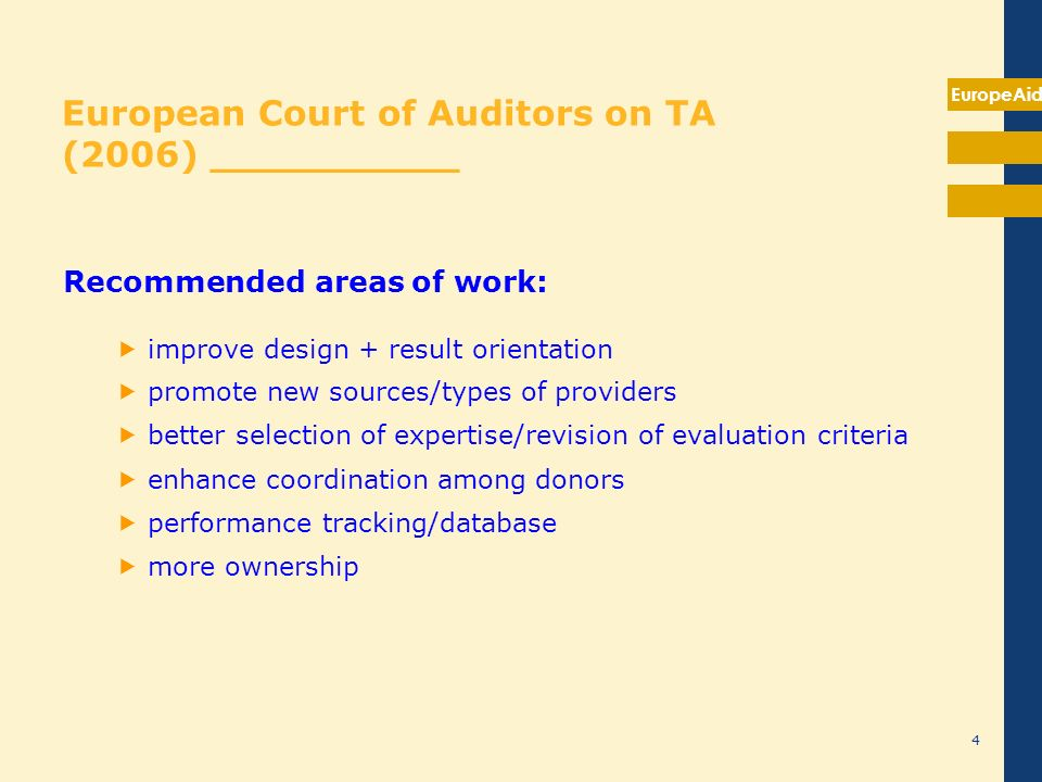EuropeAid European Court of Auditors on TA (2006) __________ Recommended areas of work: improve design + result orientation promote new sources/types