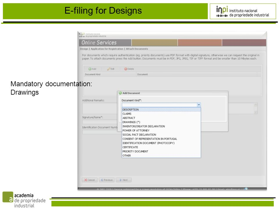 E-filing for Designs Mandatory documentation: Drawings