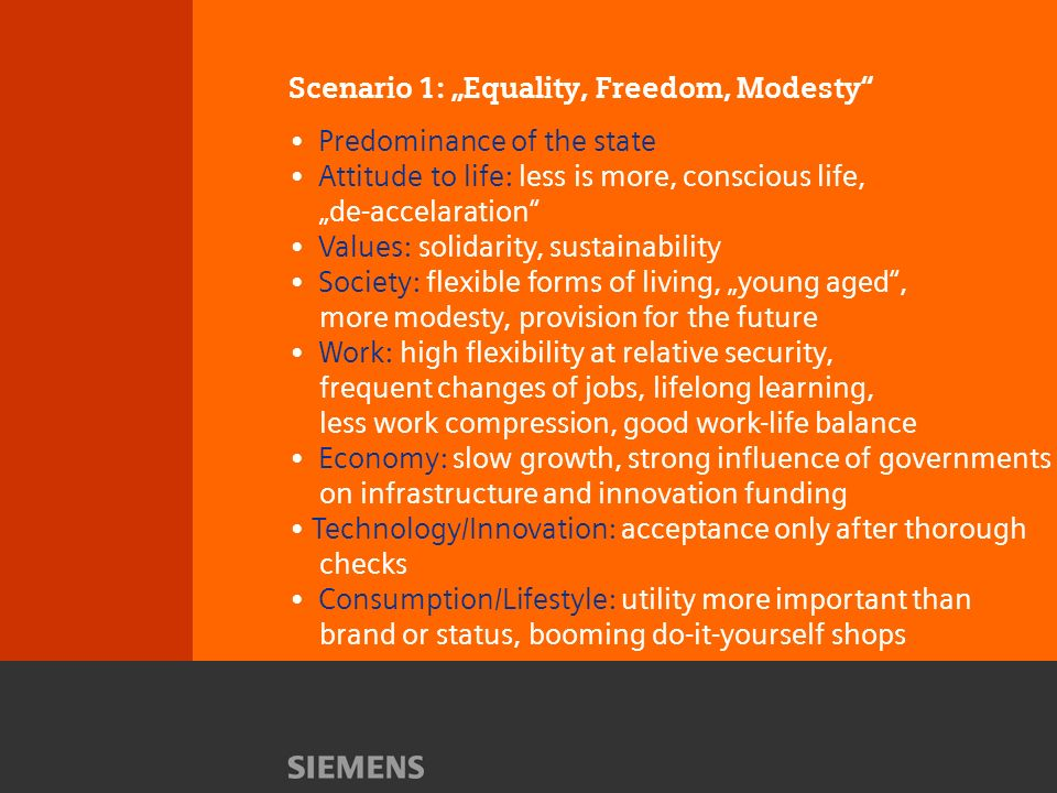 Scenario 1: Equality, Freedom, Modesty Predominance of the state Attitude to life: less is more, conscious life, de-accelaration Values: solidarity, sustainability Society: flexible forms of living, young aged, more modesty, provision for the future Work: high flexibility at relative security, frequent changes of jobs, lifelong learning, less work compression, good work-life balance Economy: slow growth, strong influence of governments on infrastructure and innovation funding Technology/Innovation: acceptance only after thorough checks Consumption/Lifestyle: utility more important than brand or status, booming do-it-yourself shops