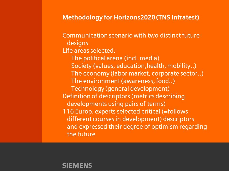 Methodology for Horizons2020 (TNS Infratest) Communication scenario with two distinct future designs Life areas selected: The political arena (incl.