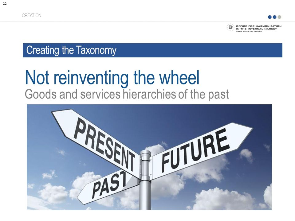 CREATION Goods and services hierarchies of the past 22 Not reinventing the wheel Creating the Taxonomy