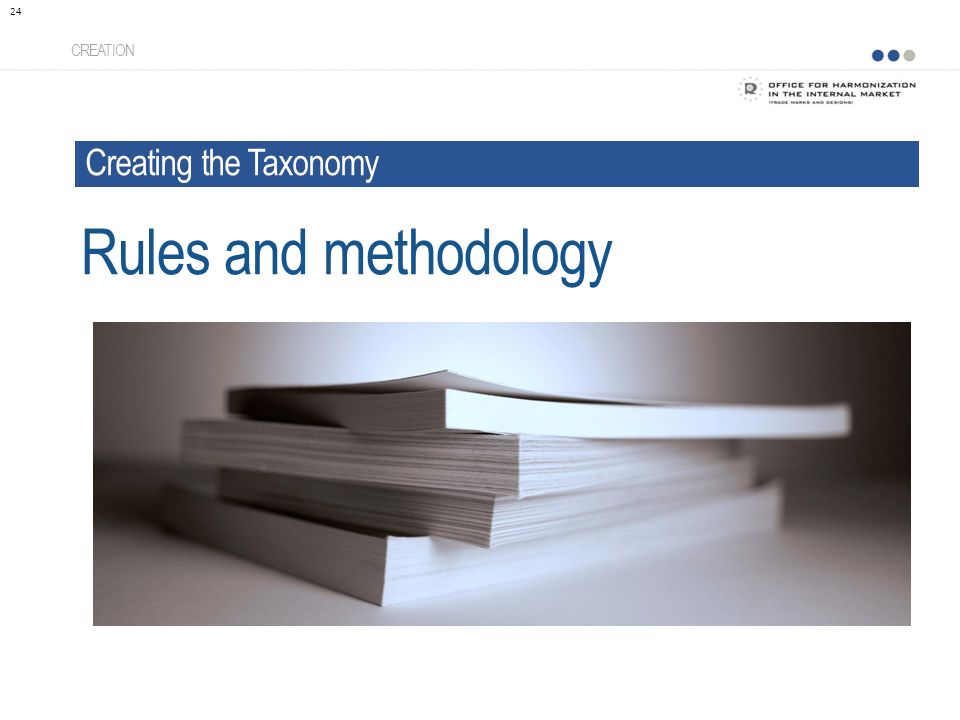 CREATION 24 Rules and methodology Creating the Taxonomy