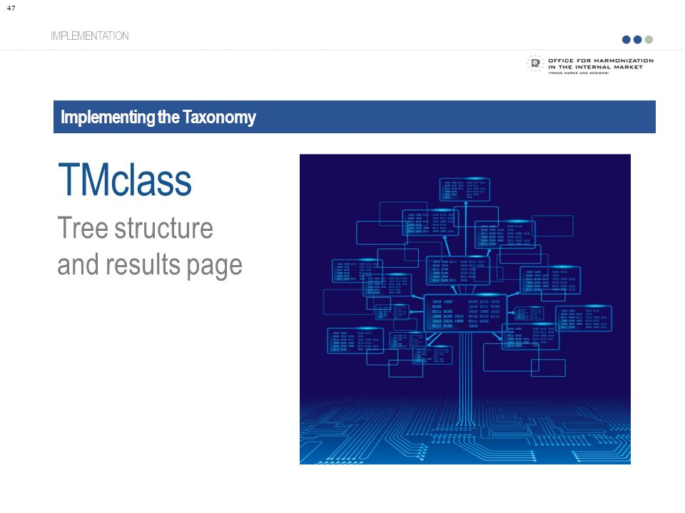 Implementing the Taxonomy IMPLEMENTATION Tree structure and results page 47 TMclass