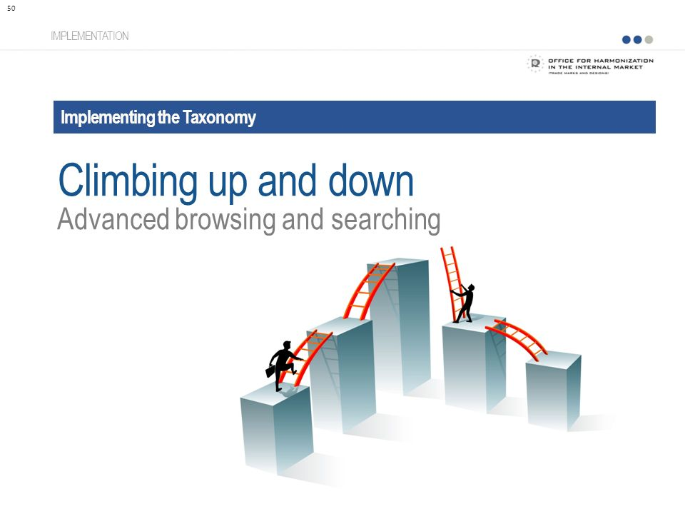 Implementing the Taxonomy IMPLEMENTATION Advanced browsing and searching 50 Climbing up and down